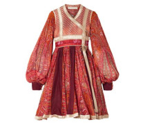 Paneled Cotton And Silk-blend Jacquard And Printed Chiffon Wrap Dress Red