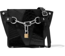 Embellished croc-effect leather and suede shoulder bag