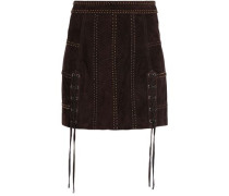 Lace-up studded suede mini skirt