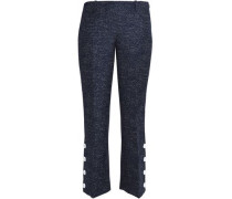Cropped button-detailed marled wool bootcut pants