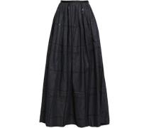 Sequin-embellished Gathered Denim Maxi Skirt Dark Denim