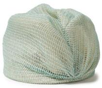 Woman Layered Metallic Open-knit And Straw Turban Light Green