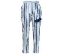 Zuri Cropped Striped Cotton-poplin Straight-leg Pants Cobalt Blue