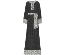 Belted Polka-dot Silk Maxi Dress Black