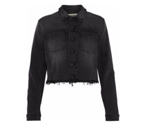 Zuma Cropped Sequin-embellished Denim Jacket Charcoal