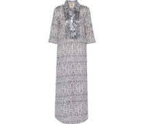 Long Tux sequin-embellished printed cotton-broadcloth kaftan