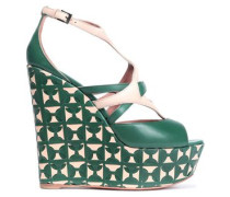 Two-tone Leather Wedge Sandals Dark Green