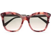 D-frame Printed Acetate And Silver-tone Sunglasses Pink Size --