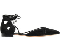 Lace-up suede point-toe flats