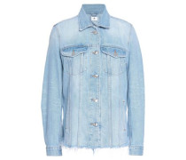 Oversized frayed denim jacket