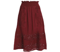 Shirred Broderie Anglaise Cotton Skirt Claret