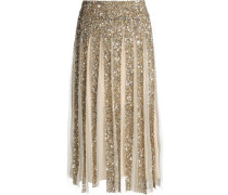 Pleated sequined tulle skirt