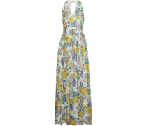 Floral-print metallic chiffon maxi dress