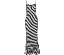 Stella Fluted Striped Crepe De Chine Maxi Dress Black
