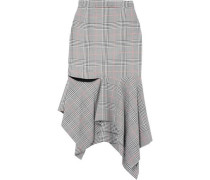 Prince of Wales ruffled woven midi skirt