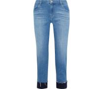 Woman Jacquard-trimmed Frayed Mid-rise Slim-leg Jeans Mid Denim