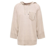 Woman Bead-embellished Linen-blend Hoodie Beige