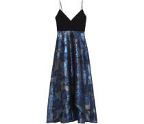Cady-paneled Brocade Gown Midnight Blue Size 0