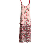 Floral-print paneled silk-crepe and georgette maxi dress