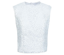 Woman Cropped Guipure Lace Top White