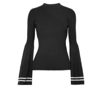 Corinne Striped Ribbed-knit Sweater Black