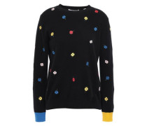 Embroidered Cashmere And Wool-blend Sweater Black