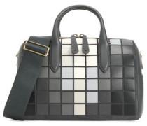Vere Barrel appliquéd leather and suede shoulder bag