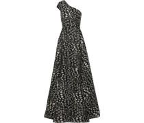 One-shoulder fil coupé gown
