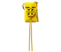 Woman Logo Appliquéd Crinkled Patent-leather Phone Bag Yellow
