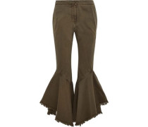 Wysteria frayed cotton-twill kick-flare pants