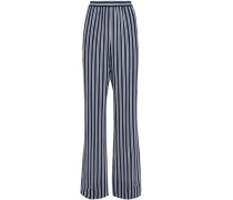 Striped Crepe Wide-leg Pants Navy