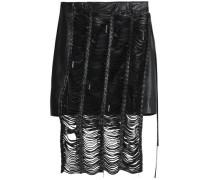 Compton embellished cutout leather mini skirt