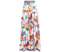 Tiered Ramie And Cotton-blend Maxi Skirt Multicolor