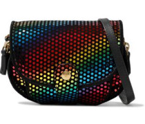 Disco Club leather-trimmed printed suede shoulder bag