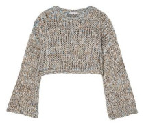 Cropped open-knit sweater
