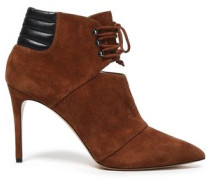 Leather-trimmed Suede Ankle Boots Brown