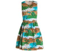 Gathered printed cotton-blend mini dress