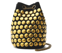 Studded suede bucket bag