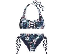 McKinley lace-up floral-print halterneck bikini