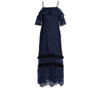 Poppy Cold-shoulder Ruffled Guipure Lace Midi Dress Navy Size 12