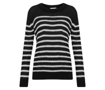Somk Striped Open-knit Sweater Black