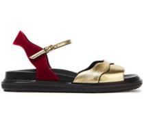 Metallic Leather And Velvet Sandals Gold