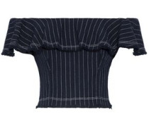 Off-the-shoulder ruffled pinstriped cotton top