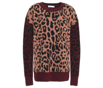 Leopard-print wool and cashmere-blend jacquard sweater
