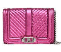 Love Small Quilted Metallic Leather Shoulder Bag Magenta Size --