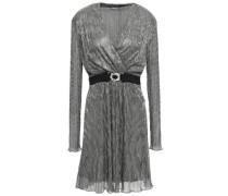 Belted Wrap-effect Lamé Dress Silver