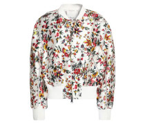 Floral-print silk and cotton-blend bomber jacket