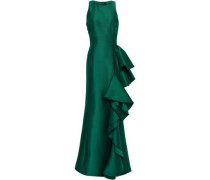 Ruffled Twill Gown Emerald Size 0
