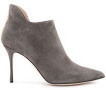 Woman Cutout Suede Ankle Boots Dark Gray