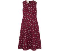 Woman Floral-print Cotton-poplin Midi Dress Burgundy